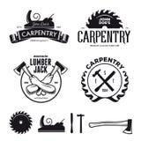 Carpentry emblems, badges, design elements. Vector vintage illustration. Carpenter design elements in vintage style for logo, label, badge, t-shirts. Carpentry vector illustration