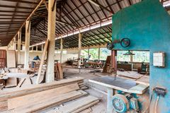 Carpentry factory with African operators. Industry royalty free stock photo