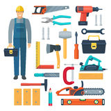 Carpentry Flat Color Icons Set Royalty Free Stock Photos