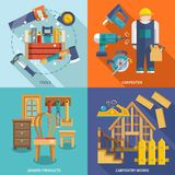 Carpentry flat set. Carpentry works icons flat set with tools carpenter joinery products isolated vector illustration royalty free illustration