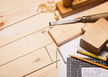 Carpentry. Home Improvement Blueprint Construction Wood Timber Lumber Industry stock images