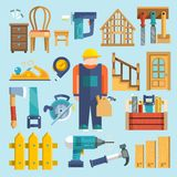 Carpentry icon flat. Carpentry industry icons flat set with toolbox hammer work kit isolated vector illustration stock illustration