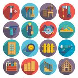 Carpentry icons flat. Carpentry industry equipment icons flat set with toolbox furniture wood fence isolated vector illustration royalty free illustration