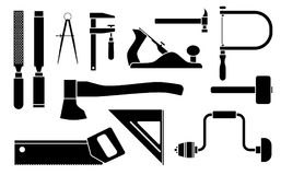 Carpentry Icons woodwork tool set. Vector illustration  on white background. Carpentry woodwork tool set. Vector illustration  on white background Royalty Free Stock Photos