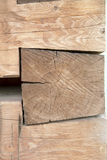 Carpentry joints with massive wooden beams. Nice carpentry joints with massive wooden beams Royalty Free Stock Photos