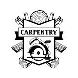 Carpentry label with wood logs and saw. Emblem for forestry and lumber industry Royalty Free Stock Photography