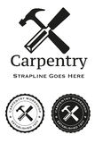 Carpentry. A logo for a carpentry workshop with chisel and hammer Stock Image