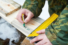 Carpentry. Partitioning boards Stock Images