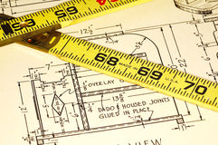 Carpentry Plans. And a Ruler royalty free stock photography