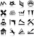 Carpentry. 16 carpentry related icons/ silhouettes Royalty Free Stock Image