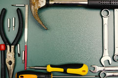 Carpentry and set of hand tools. Royalty Free Stock Photos
