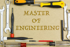 Carpentry and set of hand tools with wording engineering student, education and university concept. Stock Image
