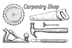 Carpentry shop icons. Vector illustration of woodworking or carpentry equipment tools icons. Instruments: circular or miter saw blade, plane, hammer and nail stock illustration