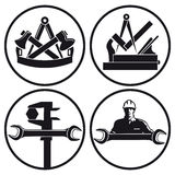 Carpentry and tool symbols. A set of carpentry and tool and workshop symbols on white background stock illustration