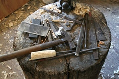 Carpentry tools. Still life of antique carpentry tools Stock Image