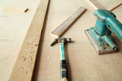 Carpentry tools. Photograph of carpentry tools equipment Royalty Free Stock Photo