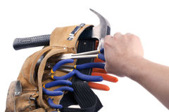 Carpentry tools on belt. Activity Royalty Free Stock Images