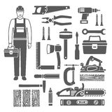 Carpentry Tools Black Silhouettes Icons Set Royalty Free Stock Photo