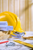Carpentry tools on blueprint Stock Photo