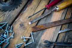 Carpentry tools on the boards Stock Photography