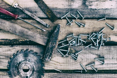 Carpentry tools on the boards Royalty Free Stock Photography