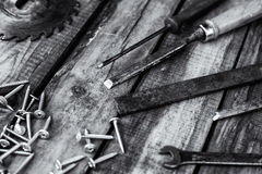 Carpentry tools on the boards Stock Photos