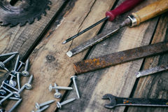 Carpentry tools on the boards Royalty Free Stock Photos