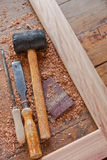 Carpentry tools. Displayed with woodwork project in progress Stock Image