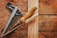 Carpentry tools. Displayed with woodwork project in progress stock images
