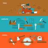Carpentry tools flat banners set Royalty Free Stock Images