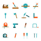 Carpentry tools flat icons set Stock Photo