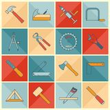 Carpentry tools flat line icons Stock Photo