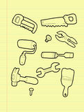 Carpentry tools. Freehand drawing carpentry tool on yellow pad royalty free illustration