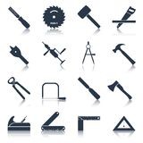 Carpentry tools icons black vector illustration