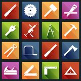 Carpentry tools icons white Stock Photo