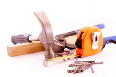Carpentry tools isolated Royalty Free Stock Photos