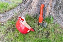 Carpentry tools near tree stock images