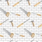 Carpentry tools pattern design brick wall Stock Image