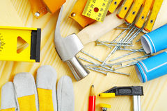 Carpentry tools set. Set of carpentry tools  on wooden boards Royalty Free Stock Photography