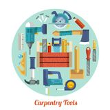 Carpentry tools set Royalty Free Stock Images