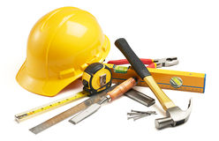 Carpentry tools. Various type of carpentry tools in group stock images
