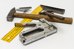 Carpentry tools on a white background. Royalty Free Stock Images