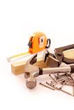 Carpentry tools in white Stock Photos