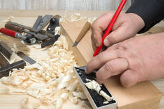 Carpentry tools and wood shavings in the workshop Stock Images
