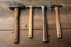 Carpentry tools on wood table Royalty Free Stock Image
