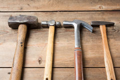 Carpentry tools on wood table Royalty Free Stock Photos