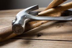 Carpentry tools on wood table Stock Photo