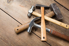 Carpentry tools on wood table Royalty Free Stock Photo