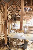 Carpentry with tools and wood workpieces. Stock Image