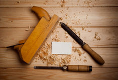 Carpentry tools  on wooden background. See my other works in portfolio Stock Photography